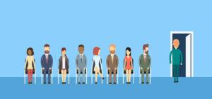 människor i kö till anställningsintervju