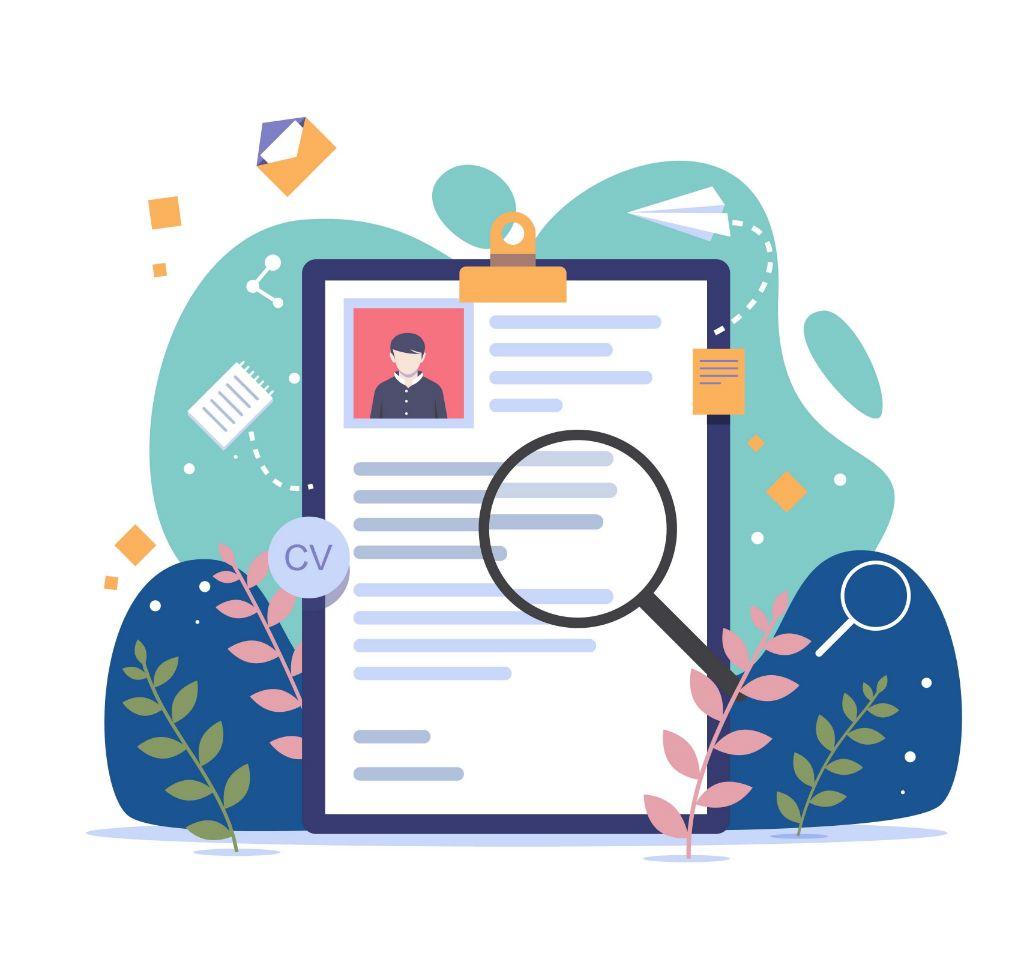cv dokument som granskas med ett förstoringsglas