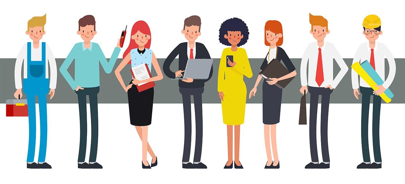 Människor från flera yrkeskategorier som skriver personligt brev