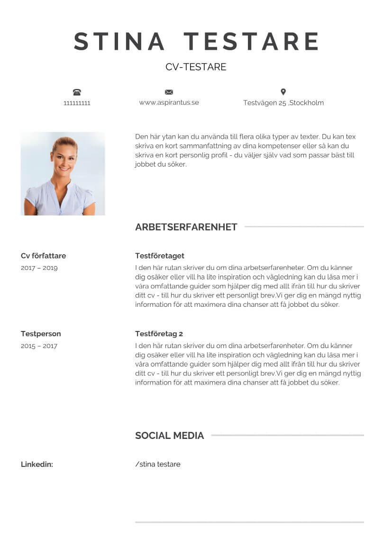 Enkel cv-mall med exempel på text och profilbild