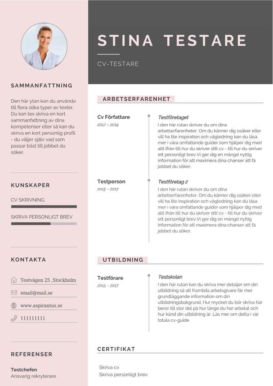 kreativ cv mall från Aspirantus med färginslag