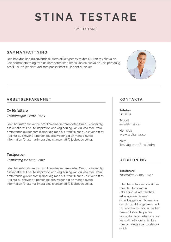 Cv mall i kreativt utförande i enkel och stilren feminin design
