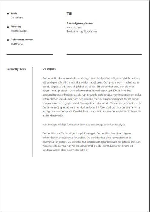 Mall för personligt brev i enkelt utförande utan fotografi