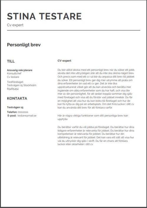 Mall för personligt brev från Aspirantus i klassisk stil nummer 3