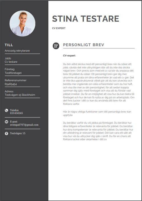 Personligt brev mall med modernt utseende inklusive fotografi och färg