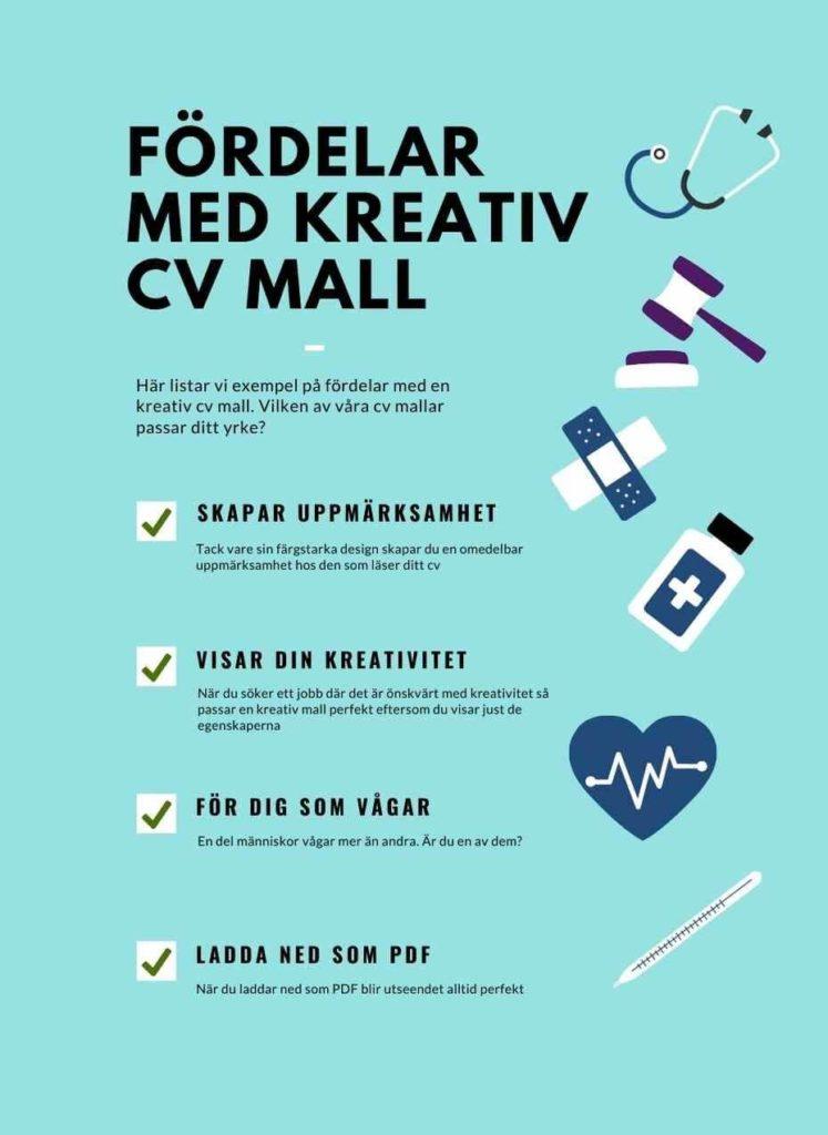infografik fördelar med kreativ cv mall